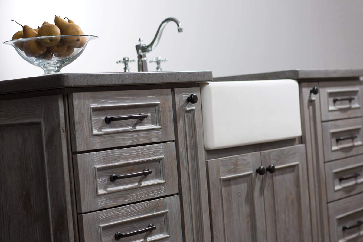 Dura Supreme Cabinetry Kitchen Island in the Weathered