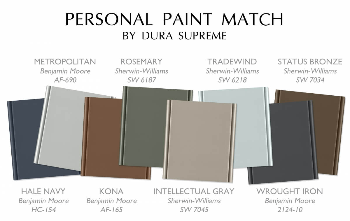 A sampling of popular colors chosen from Benjamin Moore and Sherwin Williams paint libraries